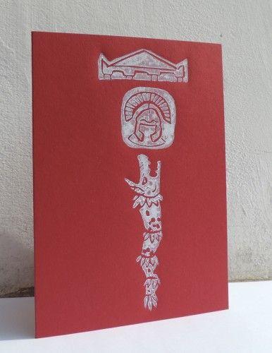 Unique, handmade card, linocut, Roman and Dacian motifs