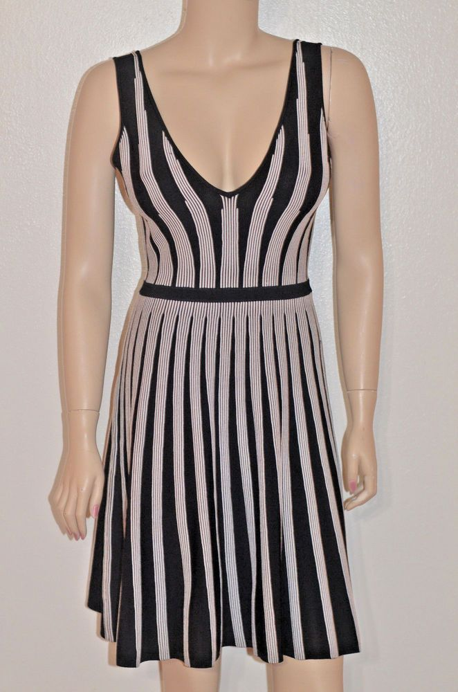 a5587639317 Sexy Black White Fit n Flare Guess Striped Mini dress V-Neck Back XS Worn  once  GUESS   ...