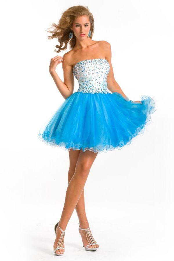 Turquoise Short Strapless Blue Prom Dresses