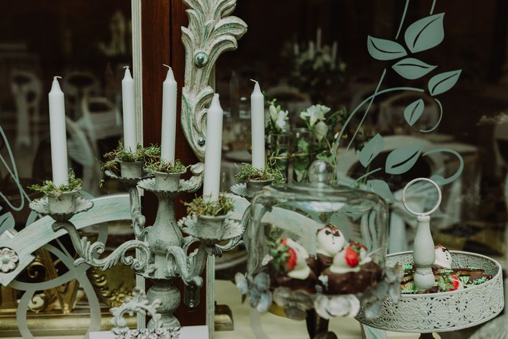 Enchanted Castle Candy & Fruit Corner/Bar - Satori Art & Event Design Vintage iron, moss, candle holders, outdoor, antique, old, woodland, wedding, events, design, decor, inspiration, details,