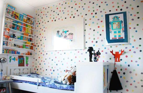 17 mejores ideas sobre papel pintado de lunares en - Papel para habitacion ...