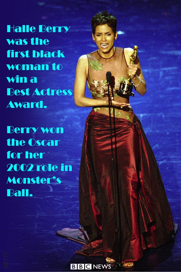 Halle Berry was the first black actress in the 74-year history of the awards to win an Oscar for a leading role. Berry said the real celebration would come when black actresses and actors up for the major awards were so commonplace that race was not an issue.