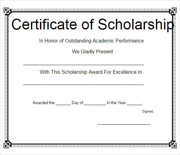 11+ Scholarship Certificate Templates Free Printable Word  PDF