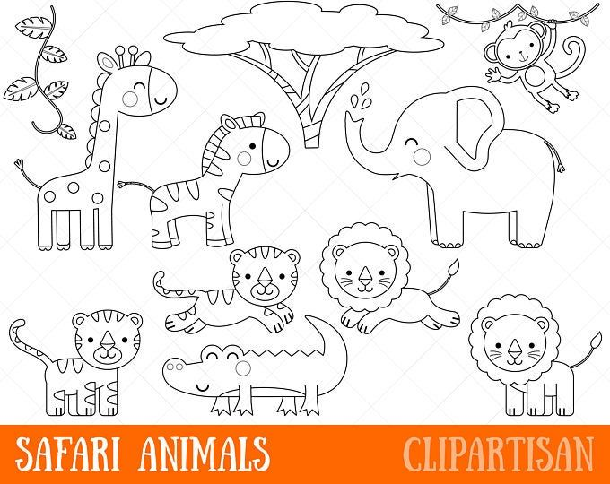 Safari Baby Animals Clipart Jungle Animals Clipart Zoo Animals Clipart Safari Baby Animals Animal Clipart Animal Coloring Pages