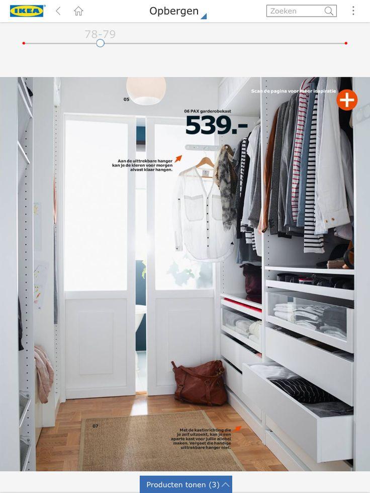 Mooie indeling voor kastenwand/inloopkast. Met uittreksysteem voor de kleren voor morgen. Uit de Ikeagids 2015
