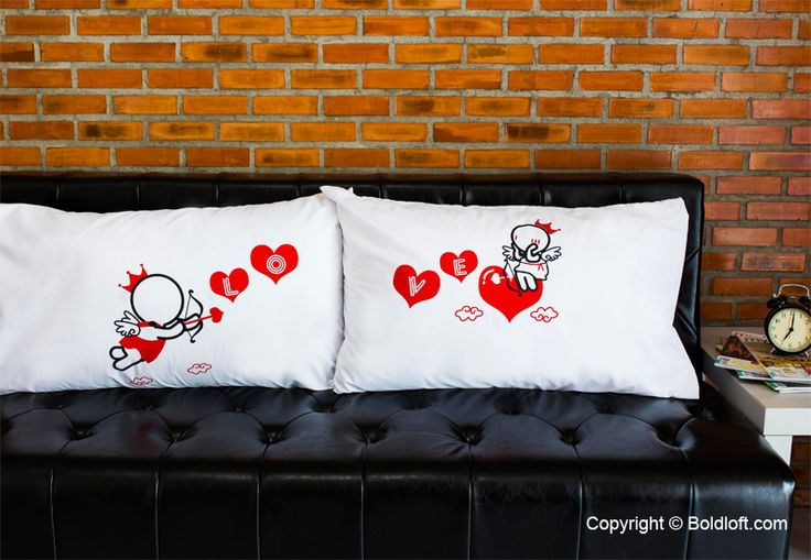 """""""When I saw you I fell in love and you smiled because you knew. Loved Goes toward Love. My heart surges with love when you are near so I'll do what it takes to get you here!"""" Cupid's in flight and yes, love's in the air! These pillowcases are like you and your loved one- meant to be side by side! They show the complete story of love. Perfect Valentine's Day gifts for girlfriend or wife. BoldLoft """"Love Goes toward Love"""" Couple Pillowcases. #boldloft #couplepillowcases"""
