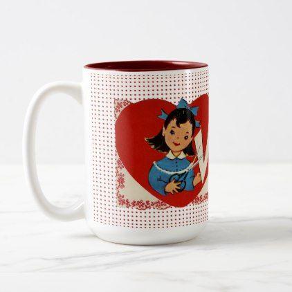 Vintage Valentine Girl Adorable Retro Humor Two-Tone Coffee Mug | Zazzle.com