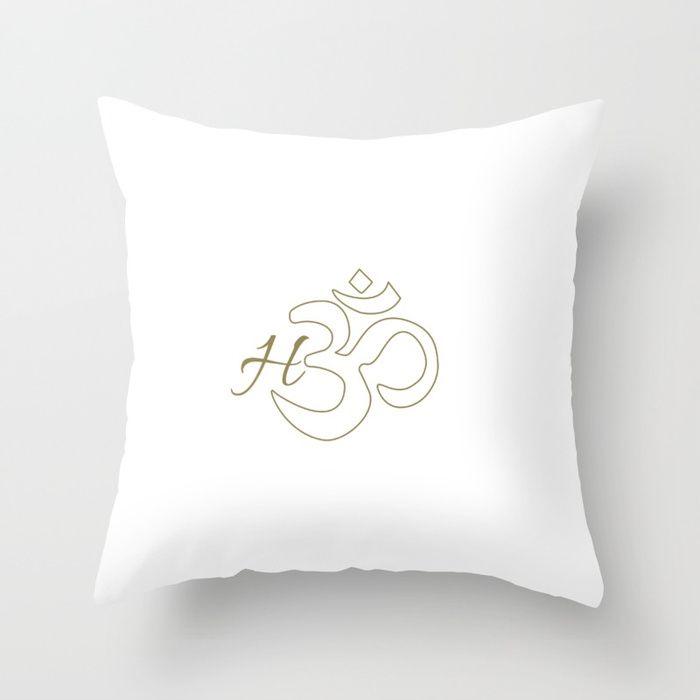 #home #Om #cushion #yoga #calm #peace #oasis #white #gold #typography #homedecor #society6 #myart