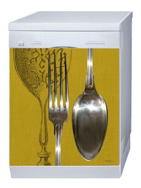 Magnet lave-vaisselle couverts Reverso Gold 60x60
