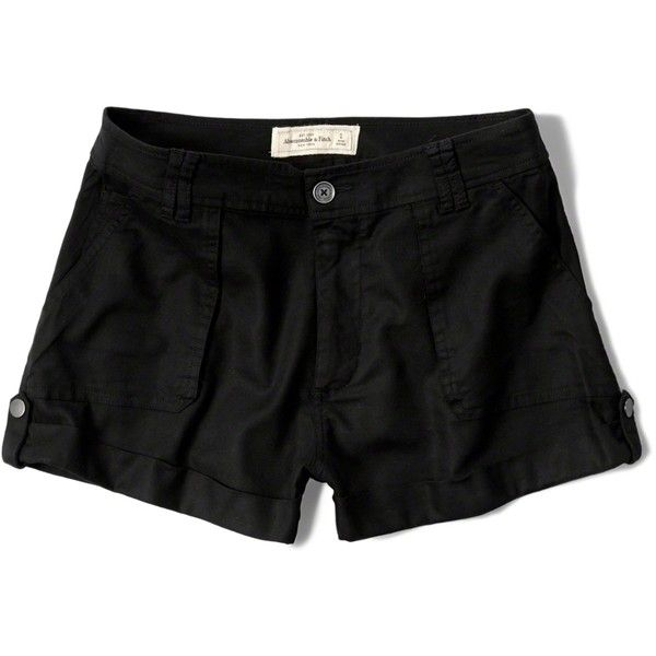 Abercrombie & Fitch Drapey Military Shorts (245 ZAR) ❤ liked on Polyvore featuring shorts, black, drapey shorts, military style shorts, military shorts, cuffed shorts and lightweight shorts