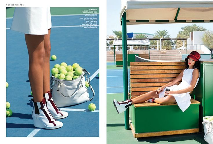 A pair of wedge sneakers add some sex appeal to the tennis uniform