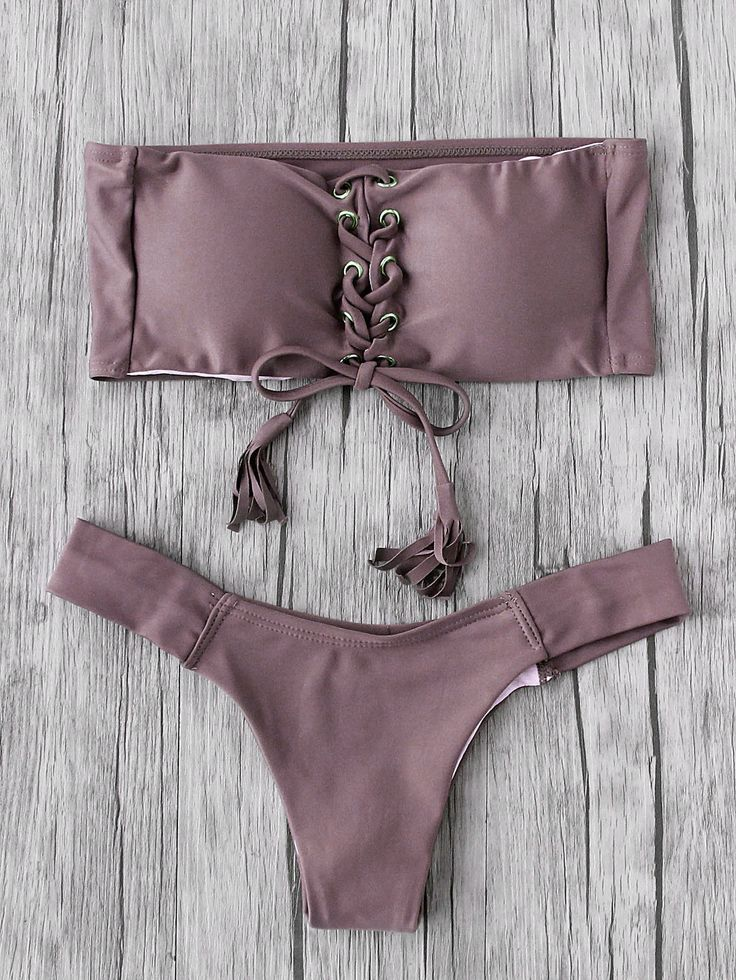 Shop Eyelet Lace Up Tassel Bandeau Bikini Set online. SheIn offers Eyelet Lace Up Tassel Bandeau Bikini Set & more to fit your fashionable needs.