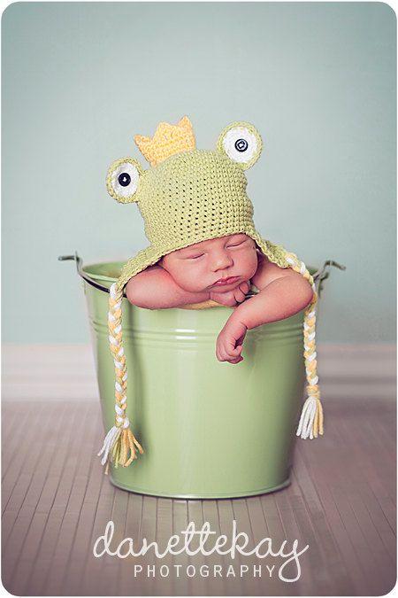 Prince grenouille nouveau-né Hat-photographie Prop par danettekay