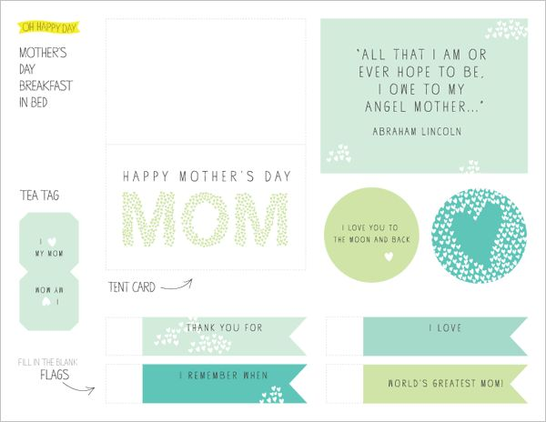 Mother's Day Free Printables!: Happy Mothersday, Free Mother S, Breakfast Printable, Printables Mothersday, Mother'S Day Printables, Bed Printable, Mothersday Printables, Free Printables