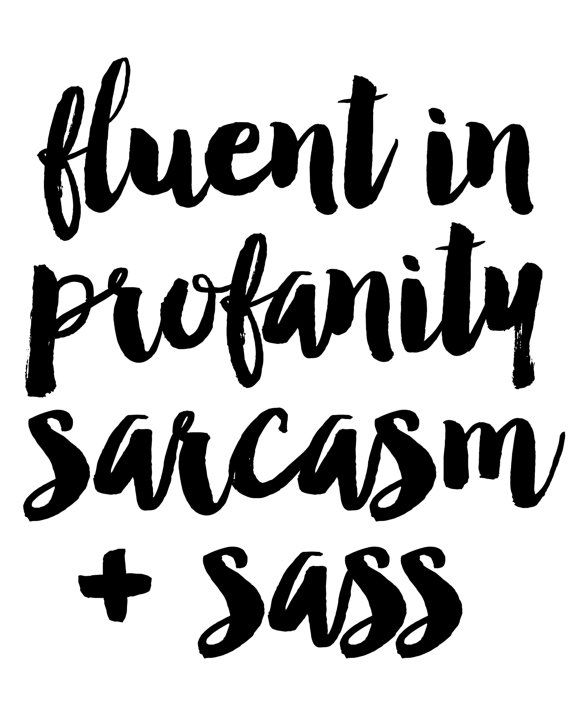 Fluent In Profanity Sarcasm And Sass Sign by AlbaMariePaperie