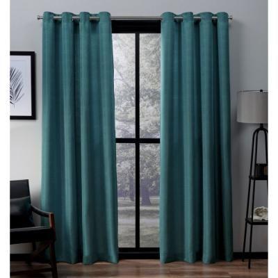 Amalgamated Textiles Virenze Teal Faux Silk Grommet Top Window Curtain, Blue
