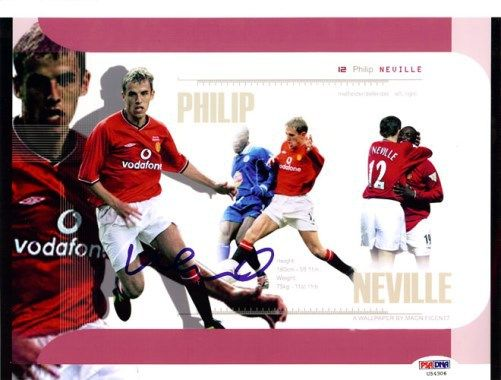 Phil Neville Autographed 8x10 Photo England PSA/DNA #U54306
