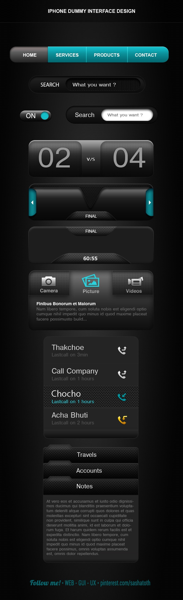 """iPhone Interface Design *** """"This is iPhone4 Interface Design. This is my early time project , you can say whenever I have start learn design."""" by Rabin Dey, via Behance *** #iphone #gui #behance"""