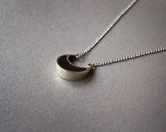 Moon Necklace in Ebony and Sterling Silver by AlejandraGiannoni