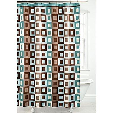 Metro Square Shower Curtain In Aqua And Brown New Bathroom Decor