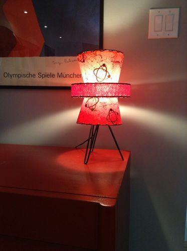Mid Century Modern Lamp Fiberglass Shade in Excellent Condition Atomic Era | eBay