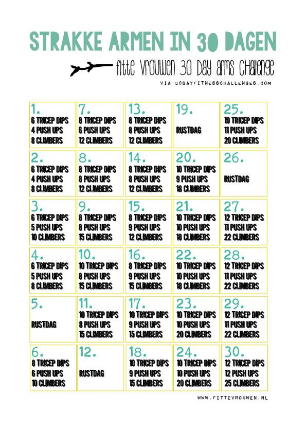 strakke armen in 30 dagen