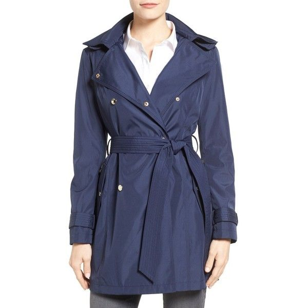 Women's Jessica Simpson Trench Coat ($168) ❤ liked on Polyvore featuring outerwear, coats, navy, navy blue coat, blue trench coat, navy trench coats, hooded coat and jessica simpson coats