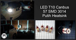 Takekimurah: LED T10 Canbus 57 SMD 3014 Putih Heatsink