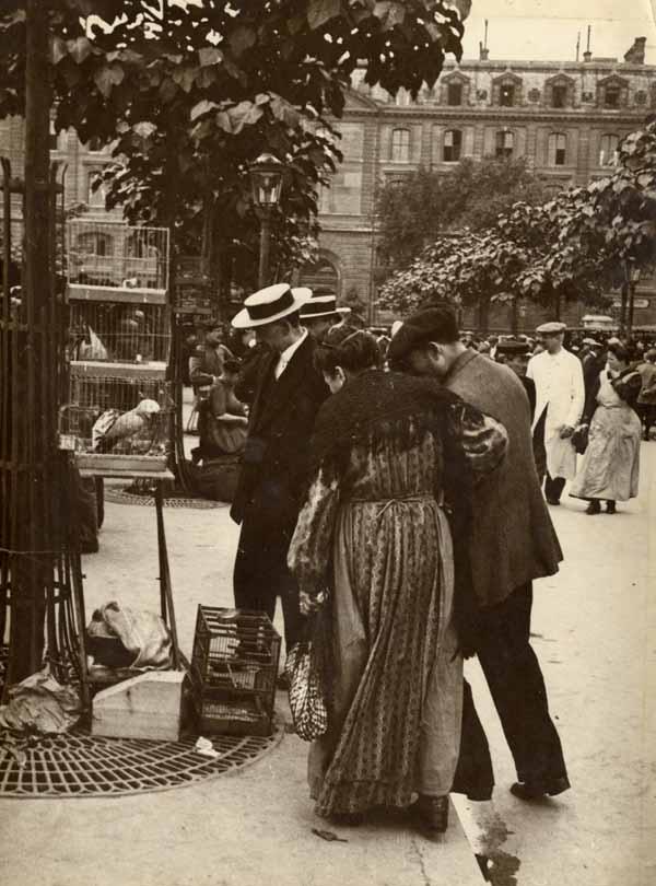 The bird market, Paris, circa 1910.