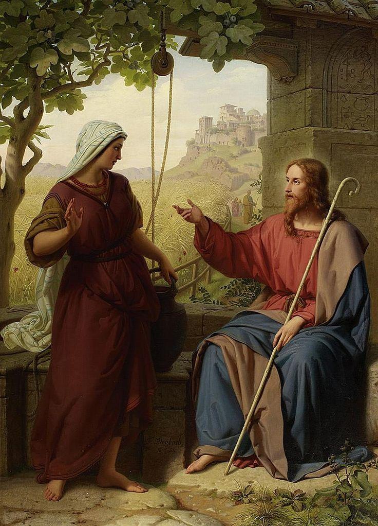 Cristo e a mulher samaritana junto ao poço de Jacó. 1954. Óleo sobre tela. Franz Ittenbach (Königswinter, Alemanha…   Imagens católicas, Arte católica, Arte bíblica