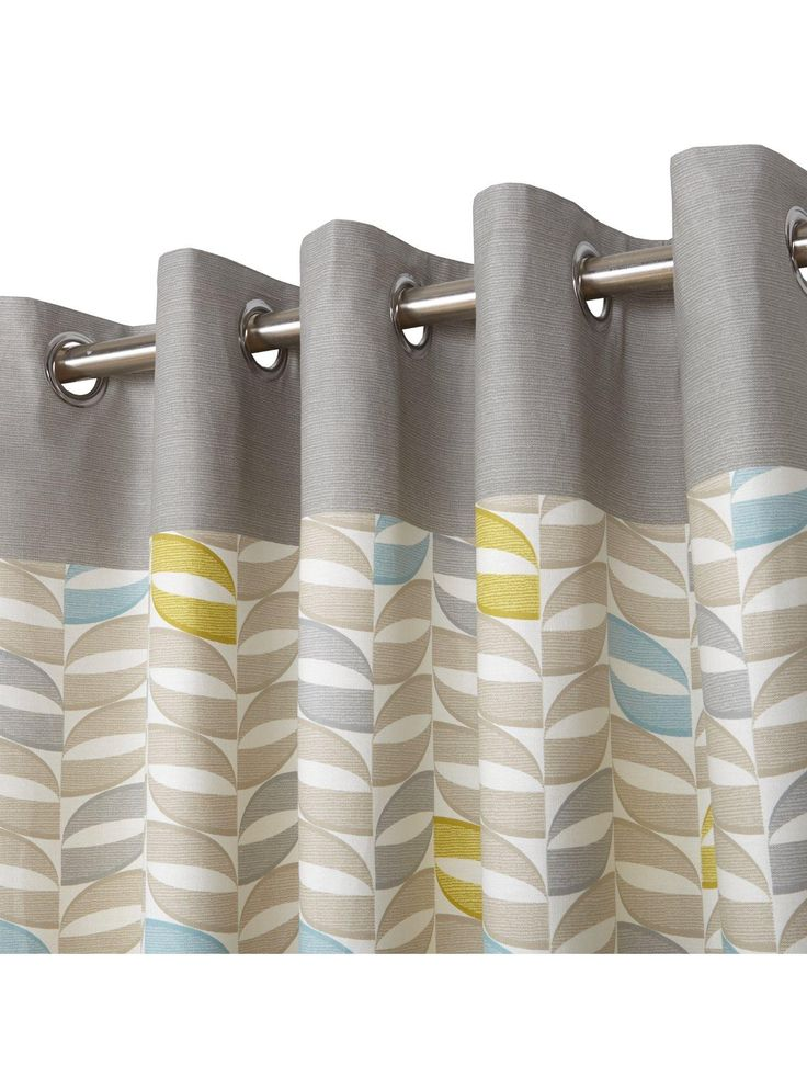 Copeland Eyelet Curtains – 168 x 137cm Featuring a retro themed geometric print that sees hints of duck egg and yellow dotted amongst a natural-toned design, these curtains are ideal for bringing a touch of eye-catching style to your windows. They're finished with a coordinating top border in grey, so they're easily matched to your current colour scheme. Suitable for a rail width of up to 229cm (7ft 6) inch, each curtain measures 168 x 137 cm (66 x 54 inch). An eyelet header makes them easy…