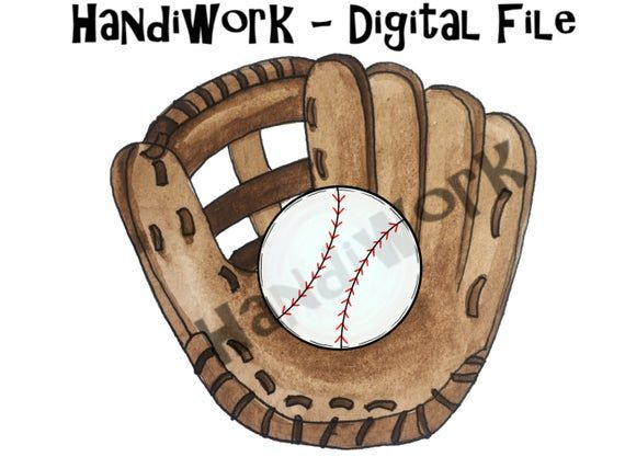 Baseball In Glove Png File Watercolor Baseball In Glove Etsy In 2020 Png Card Making How To Draw Hands