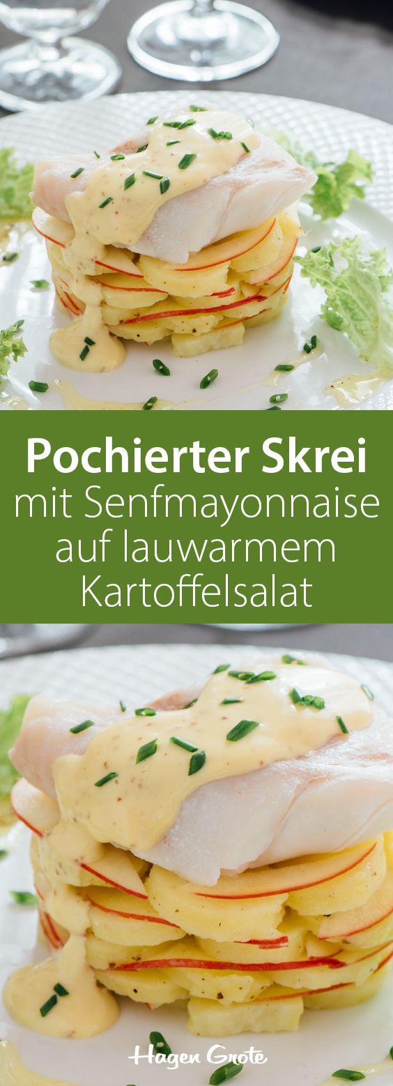 Pochierter Winterkabeljau (Skrei) mit Senfmayonnaise auf lauwarmem Kartoffelsalat