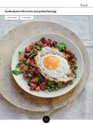 Waitrose Food February 2017: Sautéed peas with chorizo and golden fried egg