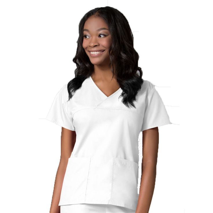 Maevn Contrast Mock Wrap Scrub Top 1026 | Maevn Uniforms | – ClothesRack | White Dog Grooming Tops | White Dog Grooming Apparel | White Dog Grooming Uniforms