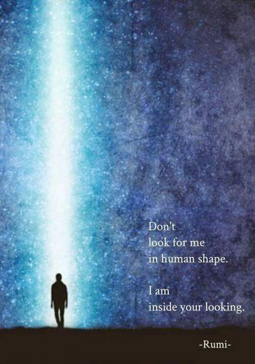 Don't look for me in human shape. I am inside your looking. -Rumi-