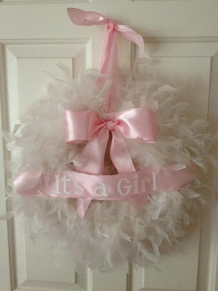 feather wreath- it's a Girl. $32.00, via Etsy.