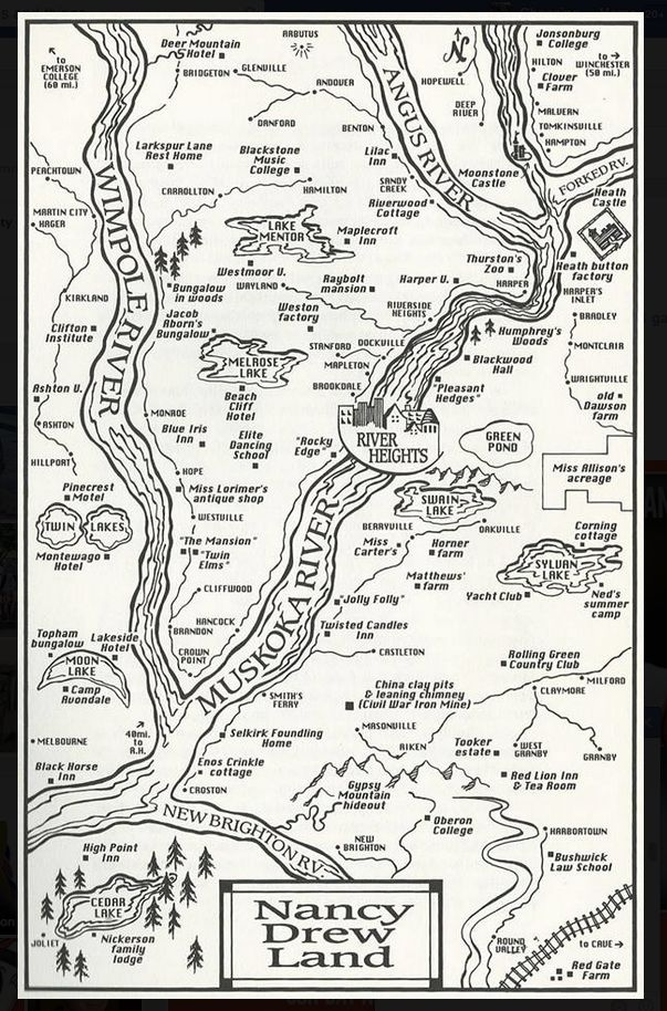 A map of Nancy Drew's hometown of River Heights, complete with mystery locations.