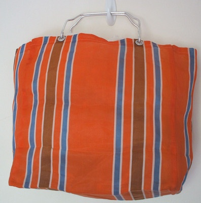 Vintage 60s Shopping Bag Orange Stripes RETRO