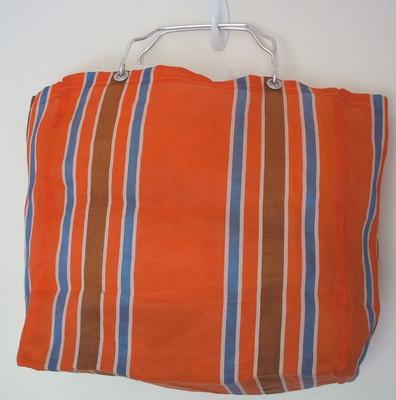 Vintage 60s Shopping Bag Orange Stripes RETRO