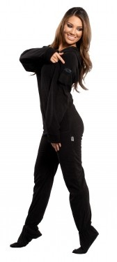 Black hooded footie pajamas.I can never have to many comfy clothes!
