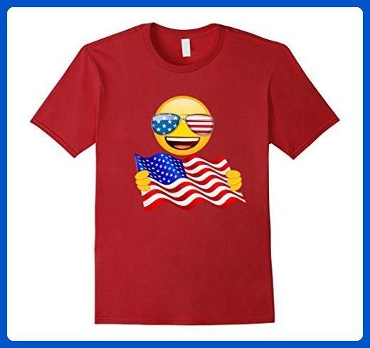 Mens American Flag Funny T-Shirt Emoji Patriotic 4th Of July Gift Small Cranberry - Holiday and seasonal shirts (*Amazon Partner-Link)
