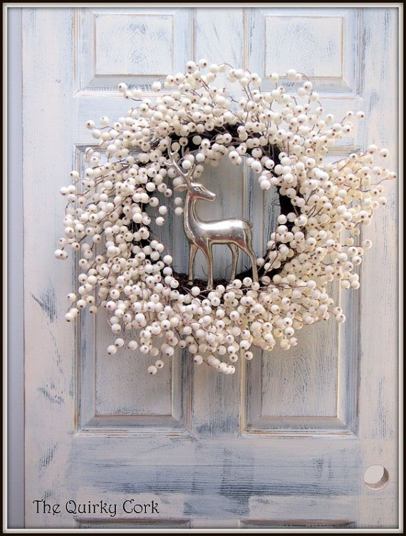 Elegant White Berry Holiday Wreath by TheQuirkyCork on Etsy, $90.00