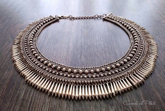 Tribal choker antique gold. Boho jewelry. Ethnic tribal necklace. Egyptian gold statement necklace. Boho jewelry. Bib necklace