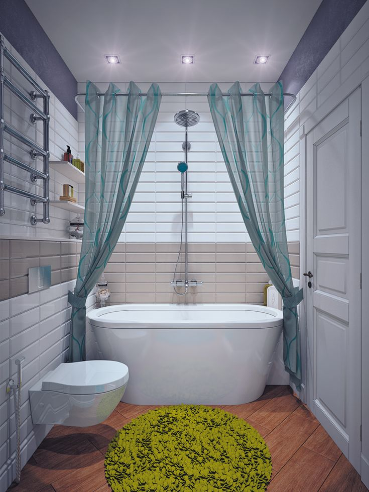 Fascinating Small Bathroom Design With Solid Hardwood Flooring Under Green Round Small Bath Mat And White Oval Acrylic Soaking Tub Be Equipped Beautiful Plastic Shower Curtains Plus Portable Shower Head As Well As Metal Towel Bar Above Floating Toilet, Bright Bathroom Colorful Schemes : Bathroom, Interior