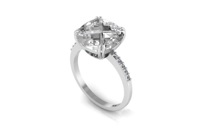 14K White Gold Cushion White Topaz Ring
