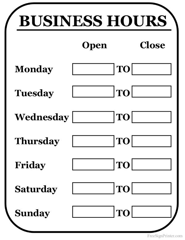 Printable Business Hours Sign Business Signs Pinterest
