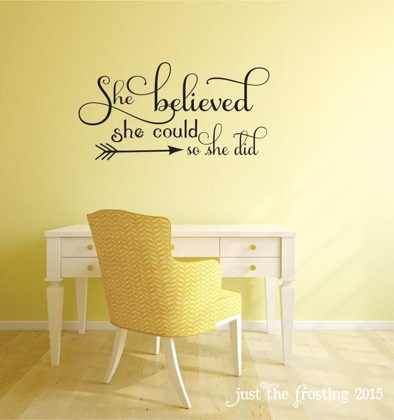 bedroom Desk Wall – She Believed She Could Quote Bedroom Wall Decal Office Decor Teen Girl Wall Decal Arrow Wall Decal Viny Lettering