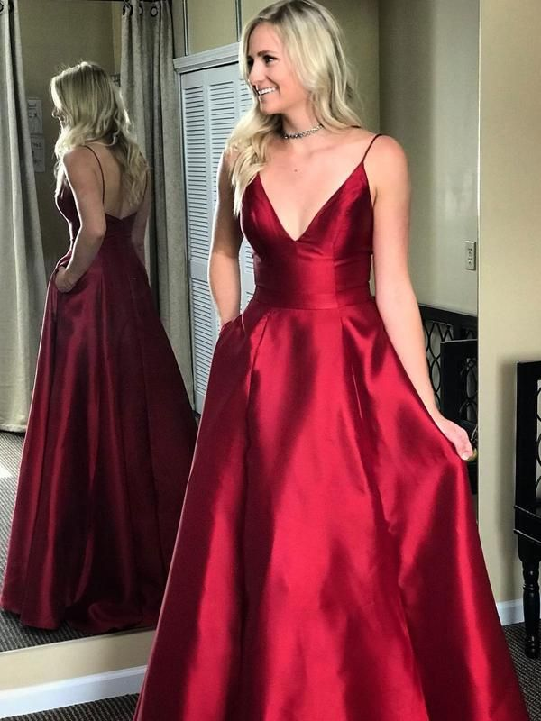 Glamorous Satin Spaghetti Straps Neckline Sweep Train A-line Prom Dresses  With Pockets PD018 3a7ee2fcb