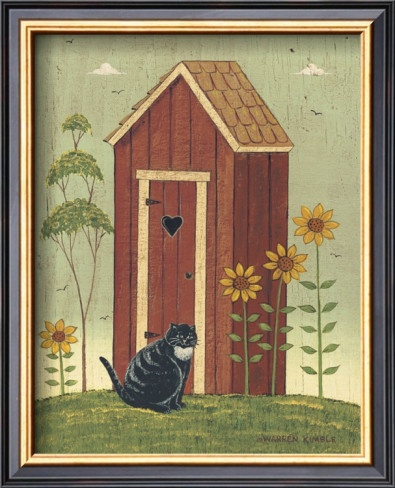 image detail for outhouse with cat posters by warren kimble